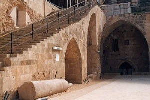 Acco templars courtyard with staircase