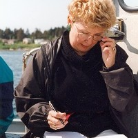 Anne working on location on boat